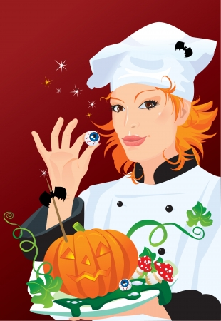 black haired: Witch - chef cooking for Halloween party Illustration