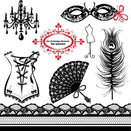 pluma de pavo real: Conjunto de elementos para las mujeres - Carnival Mask, Corsé, pluma del pavo real, Ventilador