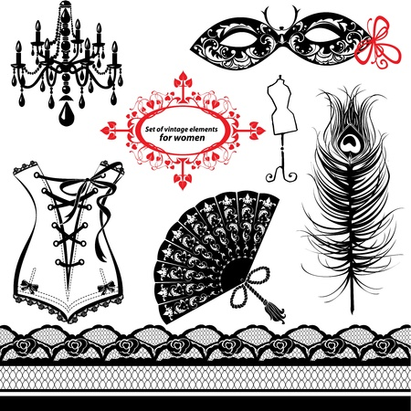 Set of elements for women - Carnival Mask, Corset, Peacock feather, Fan Vector