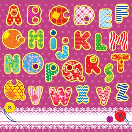 Patchwork ABC alphabet - letters are made of different ornamental fabrics Vector