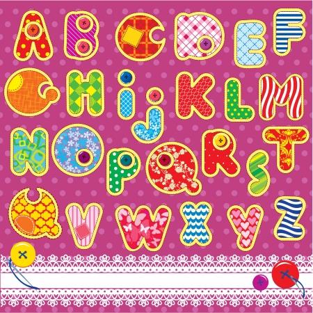 latin alphabet: Patchwork ABC alphabet - letters are made of different ornamental fabrics Illustration