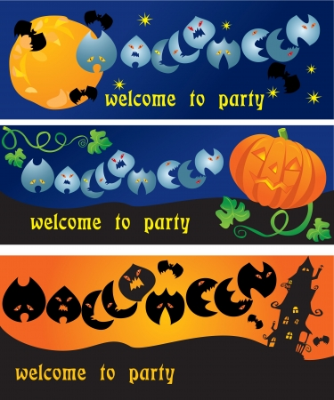 terrifying: invitation cards to Halloween party with pumpkin, bats, ghosts and other terrifying things (horizontal design) Illustration