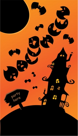 Halloween poster with sign, mystery house, bats and moon. Empty space for your text Vector
