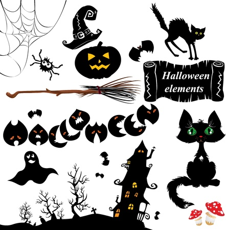 terrifying: Set of  Halloween elements - pumpkin, bats, ghost, cat, mistery house and other terrifying things Illustration