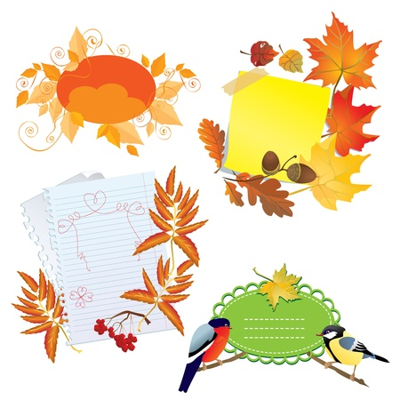 Autumn frames with Leafs, pieces of paper and birds Stock Vector - 15499474