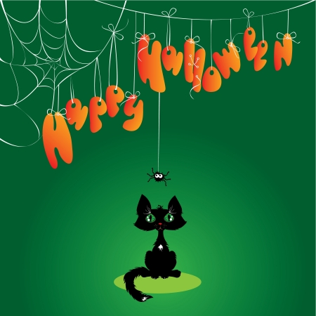 Funny Halloween Cat and Spider Stock Vector - 15504990