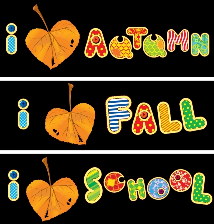 fall in love: Autumnal heart is made of leaf and words AUTUMN, FALL, SCHOOL