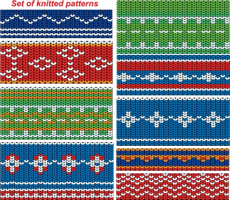 Set of 9 knitted ornamental seamless patterns.   Stock Vector - 15255198