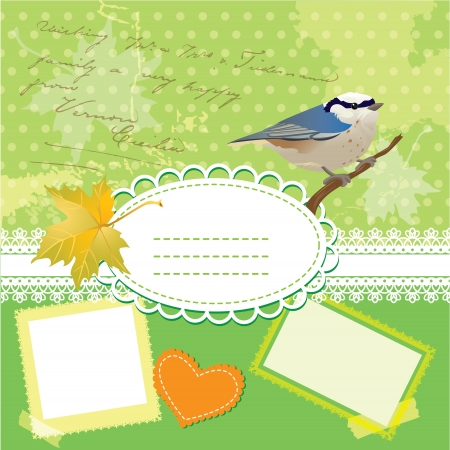 Vintage frames with bird and leafs, against polka dot background.  Vector