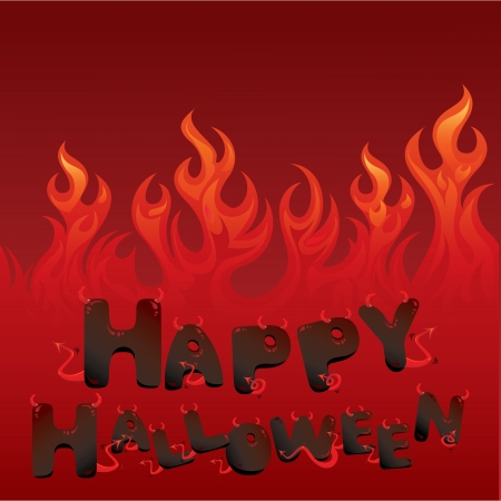 Halloween card with Flaming texture and letters in devil style Stock Vector - 15255203