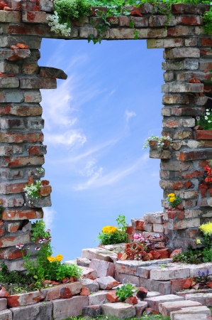 walled: arched entrance through the Wall and sky background