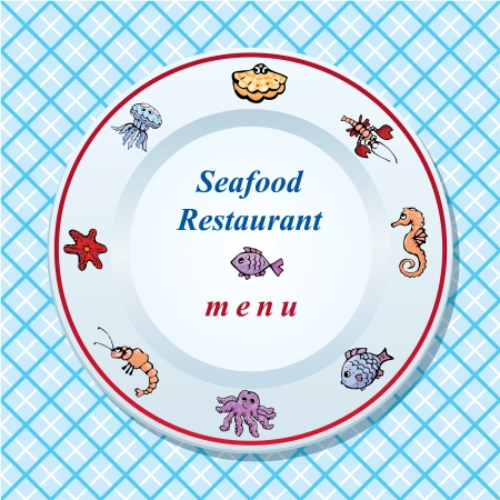 The seafood restaurant menu design - dish on checked tablecloth background Stock Vector - 15354052