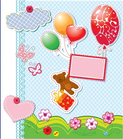 album cover: baby birthday card with teddy bear and gift box flying with balloons Illustration