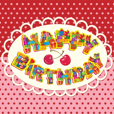 bear berry: happy birthday, letters are made of different gift boxes and presents. Oval frame on polka dot background