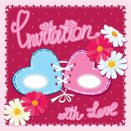 wedding reception decoration:  Wedding invitation card with 2 hearts and flowers