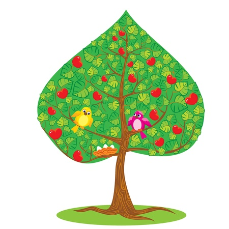 One of Four seasons - summer - tree and funny bird. Vector
