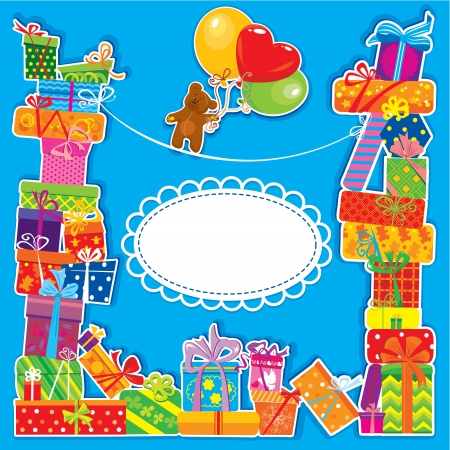 baby birthday card with teddy bear and gift boxes for boy Vector