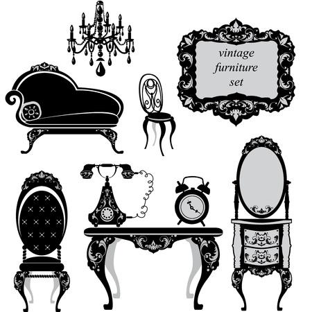 muebles antiguos: Conjunto de muebles antiguos - siluetas negras aisladas Vectores