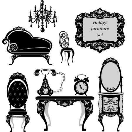 lady clock: Set of antique furniture - isolated black silhouettes