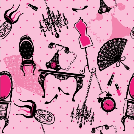 Seamless pattern with antique furniture - black silhouettes on pink background Vectores