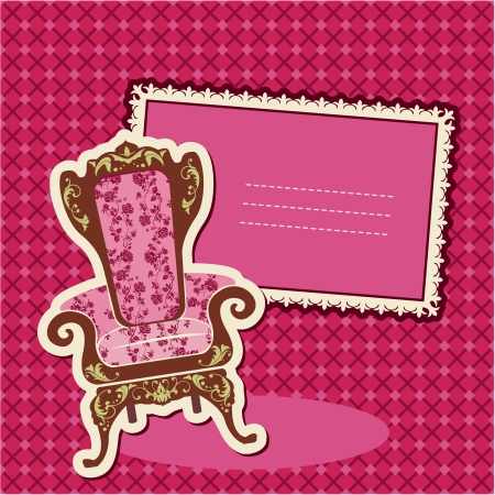 Pink Armchair and picture on checked background - card with empty space for your text Vector