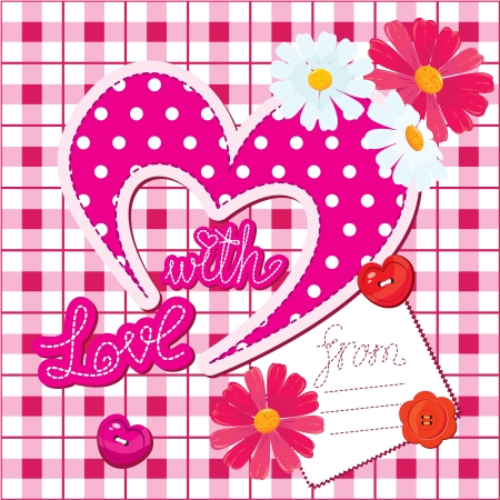 Romantic Card with heart and flowers on checked background Vector