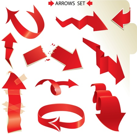 diminishing point: Set of different paper red arrows