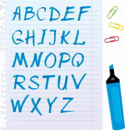 Alphabet set - letters are made of blue marker. Vector