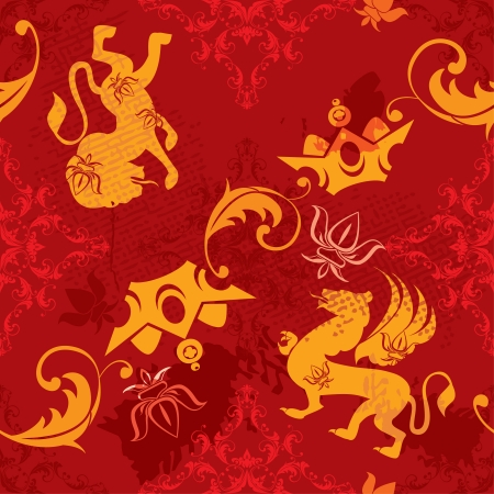Seamless pattern with vintage heraldic silhouettes elements - icons of crown, lion, griffin, fleur de lis Vector