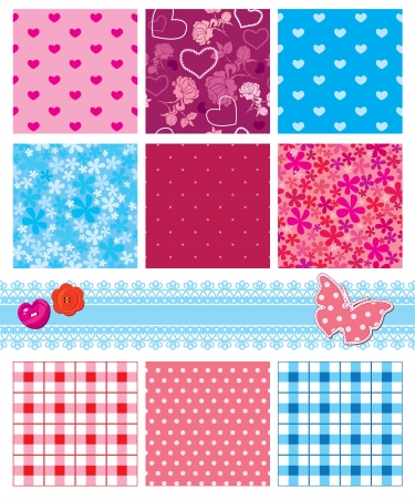 fabric textures in pink and blue colors - seamless patterns   Vector