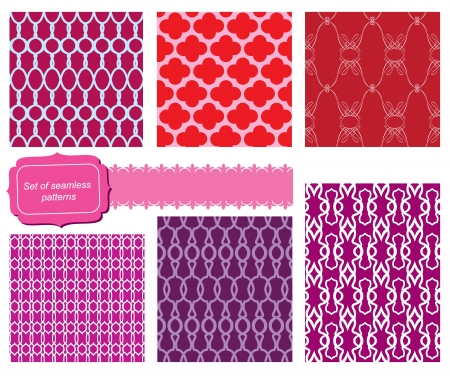 set of fabric textures with different lattices - seamless patterns   Stock Vector - 16048019