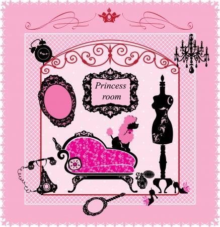 kleedkamer: Princess Room - illustratie voor meisjes