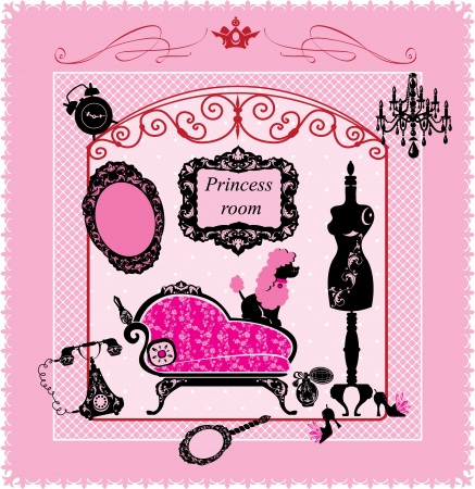 french perfume: Princess Room - illustration for girls