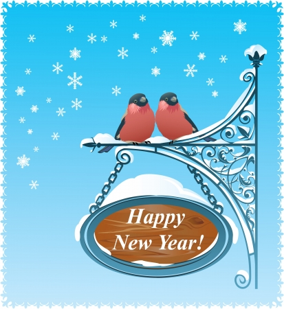 2 Bullfinches - Happy New Year Card Vector