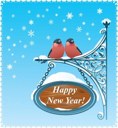 christmas robin: 2 Bullfinches - Happy New Year Card