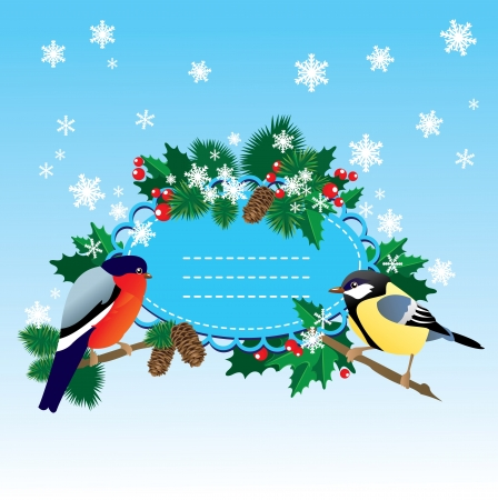 robin bird: Bullfinch and  tit with Christmas tree - oval frame