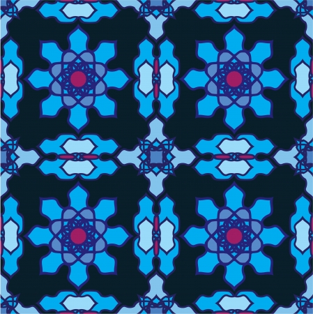 seamless pattern - classical arabic stained-glass window ornament Vector
