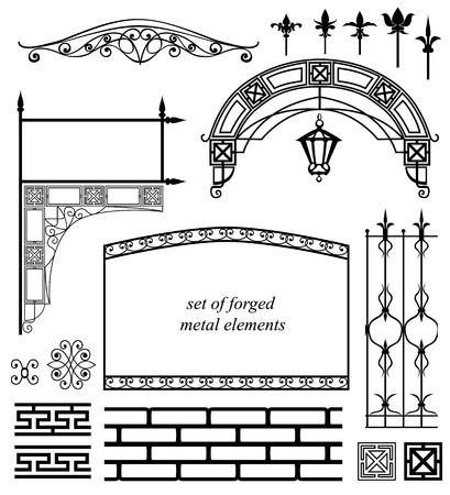 puertas de hierro: conjunto de elementos metálicos forjados Vectores