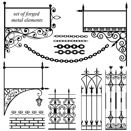 architectural elements: set of forged metal elements