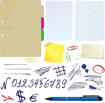 Different papers, hand drawn numbers and symbols set Stock Vector - 16048017