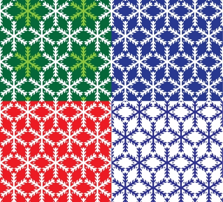 Set of 4 snowflakes seamless patterns Stock Vector - 16145996