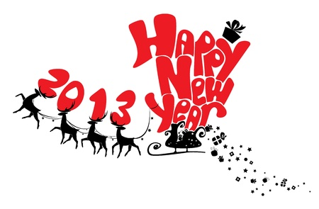 New Year card with flying reindeers 2013 Stock Vector - 16146005