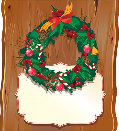Christmas garland on wooden background  Vector
