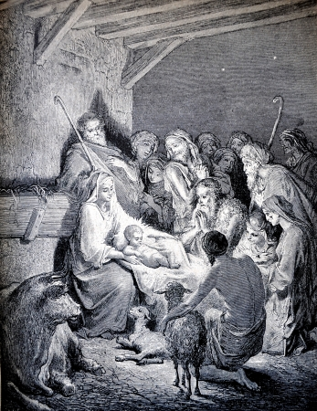 christ is born: RUSSIA - CIRCA 1913: An engraving printed in Russia shows image