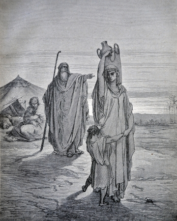 bible story: RUSSIA - CIRCA 1913: An engraving printed in Russia shows image