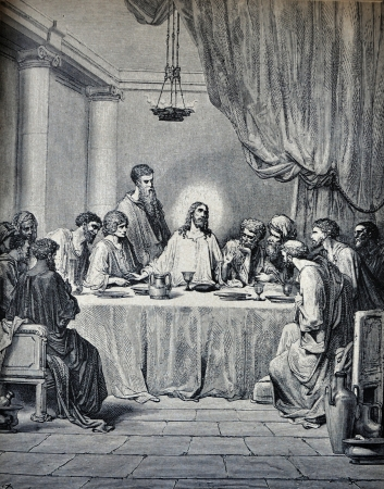 last supper: RUSSIA - CIRCA 1913: An engraving printed in Russia shows image