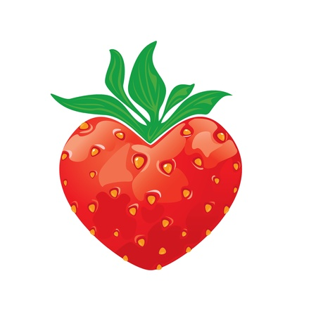 Strawberry heart isolated on white background Vector