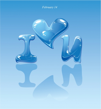 love symbol: water drops - heart and phrase  i love you