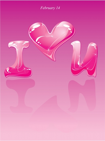 Valentines Day card - water drops - heart and phrase  Vector