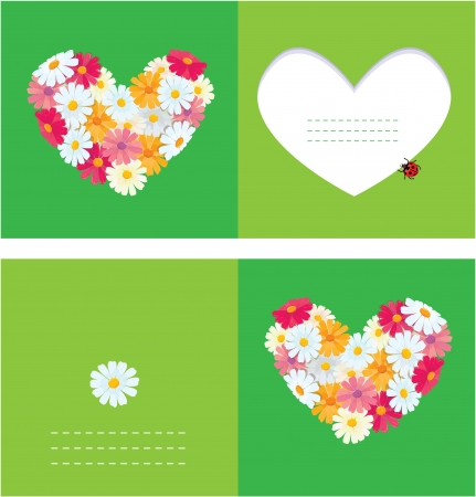 Heart is made of daisies on a green background  Valentines day card  Vector
